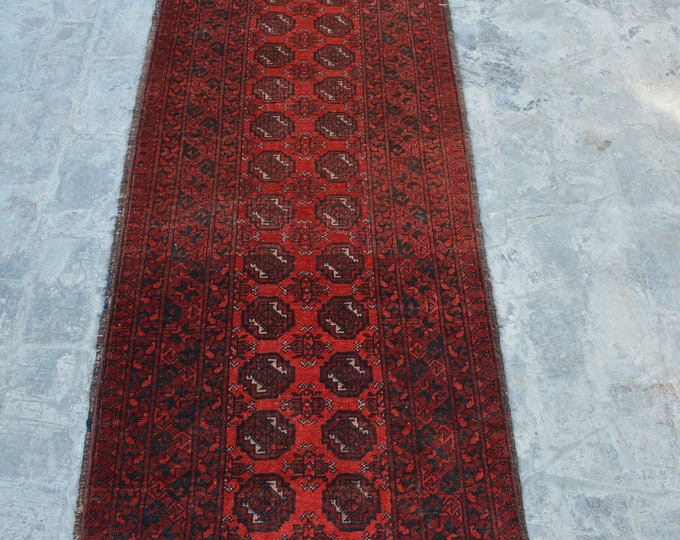 Vintage Afghan Turkman bokhara tribal rug runner handmade wool rug runner/ This runner will make your room even more beautiful and colorful