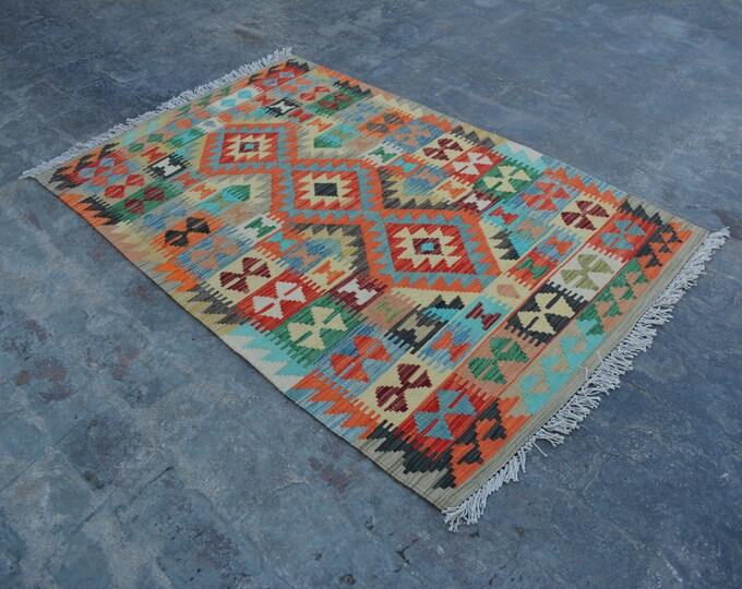 3'3 x 4'11 ft. - Elegant Afghan Tribal ghalmori kilim Rug, Traditional Handwoven Kilim