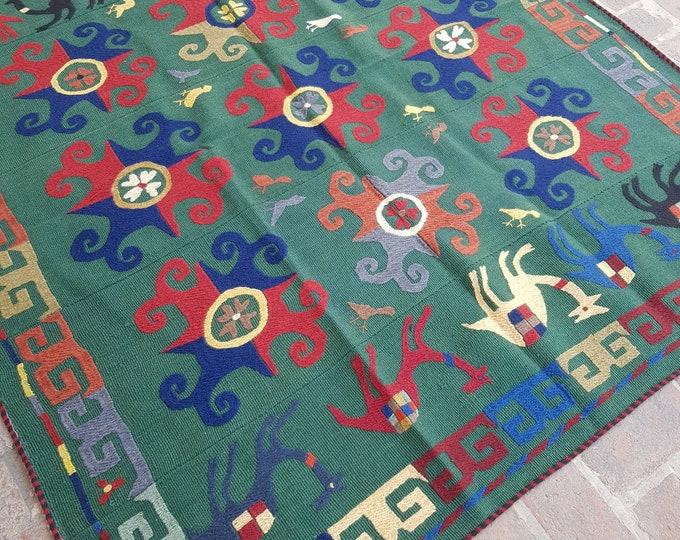 176x200 Uzbek Embroidery kilim - Tribal kilim - wool kilim - Decorative kilim - living room rug kilim - free Shipping