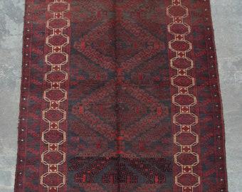 Elegant Afghan Decorative vintage zanjir gul baluchi rug