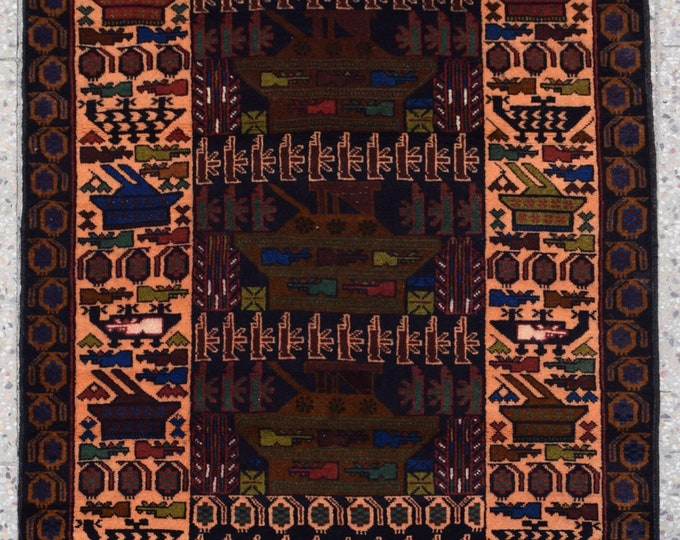 Elegant Afghan Baluchi Rug , Decorative Rug, Handmade Rug, Tribal Area Rug