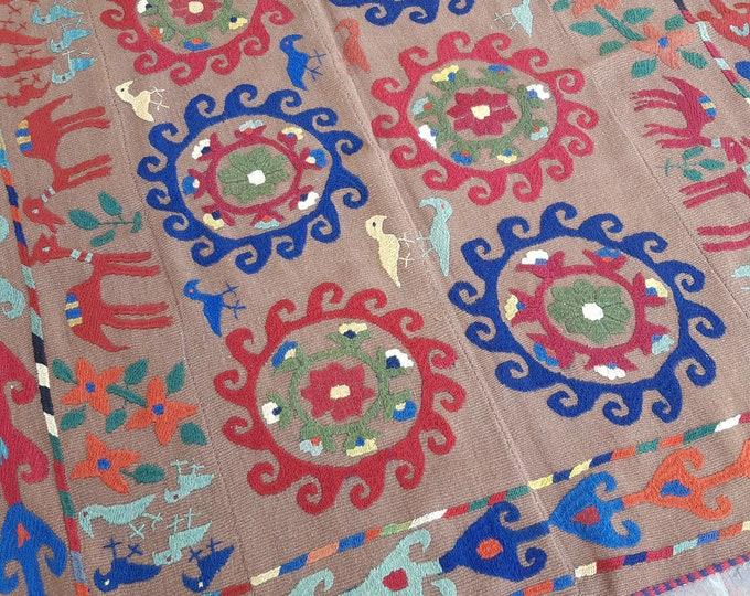 161x163 Chocolate Afghan Embroidery kilim - Tribal kilim - wool kilim - Decorative kilim - living room rug kilim - free Shipping