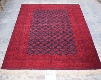 9'5 x 11'7 ft. Fine Large Afghan Turkmen Handmade Rug, FREE SHIPPING