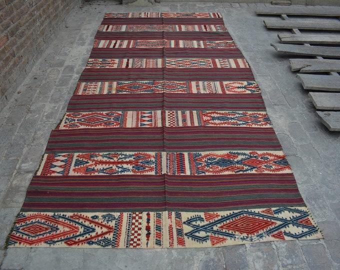 Vintage Spectacular handwoven tribal Shawl nomadic kilim / Traditional kuchi kilim/ decorative Turkish Gypsy kilim