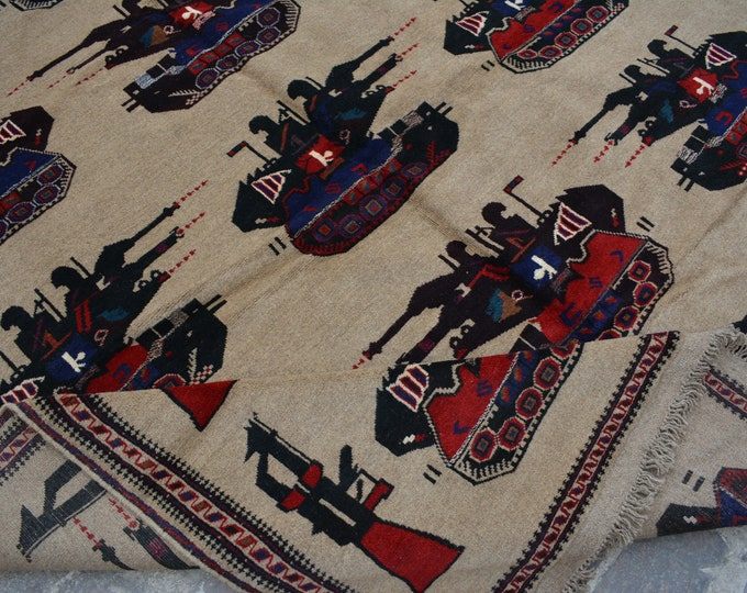 Elegant Vintage Afghan Pictorial baluchi tribal handmade wool rug / Decorative rug vintage afghan traditional rug Nomadic Toptank rug