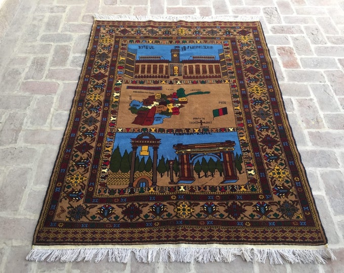 Nomad's Genuine Hand Knotted Afghan Aksi Balouch Pictorial Wool Area Rug /baluch hand knotted wool Carpet Afghanistan map