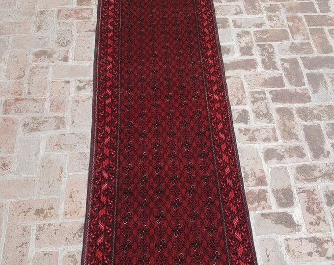 82x297 vintage Afghan hand knotted bashiri rug runner - tribal wool red runner rug - Free Shipping