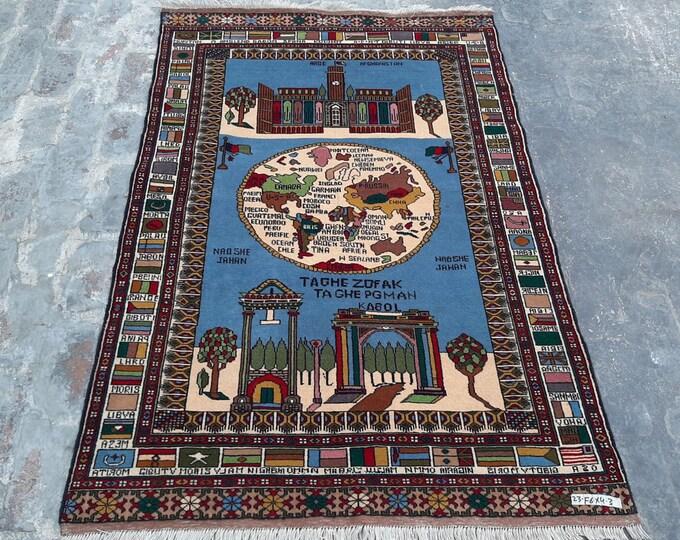 4'0 x6'0 ft.Handmade Afghan World map Rug, countries flag rug