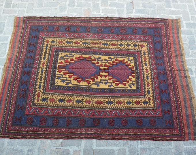 Afghan tribal handmade berjesta large kilim rug/ Free Shipping/ 182 x 253 cm