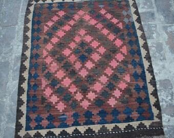 Afghan vintage Handwoven ghalmori nomadic kilim / Tribal maldari Decorative cute small kilim/ Gift item for her/him