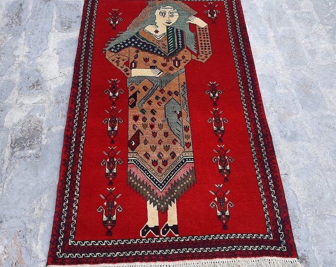 2'10x 4'7 ft. Fine Hand knotted Afghan Women Picture Rug