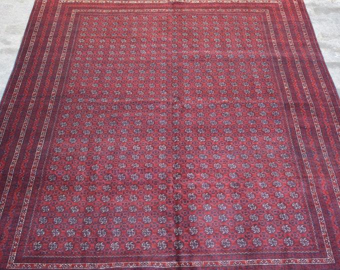 Large Vintage Afghan turkoman tribal Khoja roshnai handmade wool rug / Decorative rug vintage afghan traditional rug