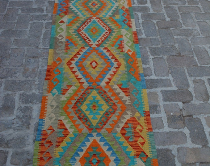 Colorful Handmade Afghan kilim Rug Runner/ Free Shipping - 79 x 390 cm
