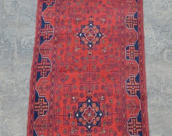 Long Vintage Afghan turkoman tribal Khalmohammadi rug runner