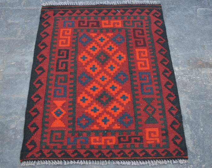 2'9 x 3'6 ft. - Elegant Afghan Tribal ghalmori kilim Rug, Traditional Handwoven Kilim