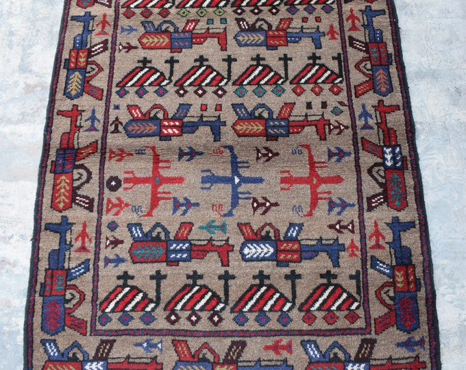 Free Shipping/ Hand knotted tribal War Rug/ 3'2 x 5'0 ft.
