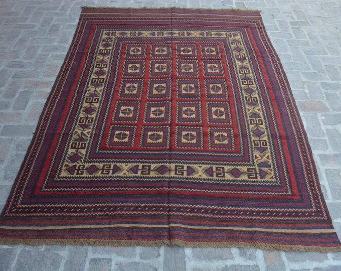 Elegant Handmade Afghan Large Kilim Rug/ Free Shipping/ 203 x 272 cm