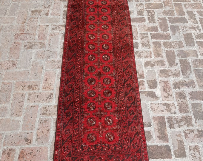 80x277 vintage Afghan hand knotted Akhalgul rug runner - tribal wool red runner rug - Free Shipping