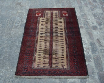 Rare Antique Afghan Nomadic tribal handmade wool prayer rug / Decorative rug vintage afghan traditional kawdani prayer rug