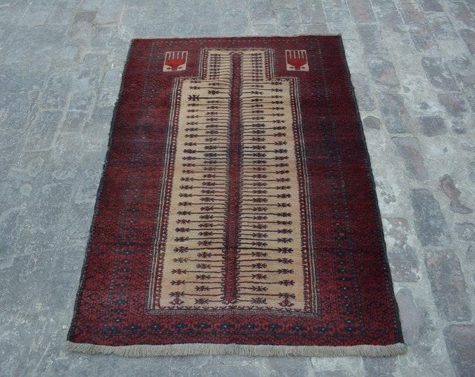 Rare Antique Afghan Nomadic tribal handmade wool prayer rug / Decorative rug vintage afghan traditional kawdani prayer rug