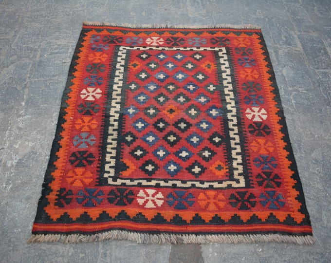 Afghan vintage Handwoven ghalmori nomadic kilim / Tribal maldari Decorative cute small kilim/ Gift item for her/him