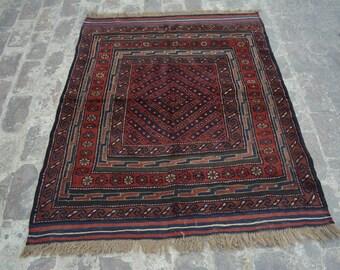 Vintage Elegant Afghan tribal mushwani kilim rug / mixture of kilim and rug - Decorative tribal nomadic kilim rug / bohemian decor rug
