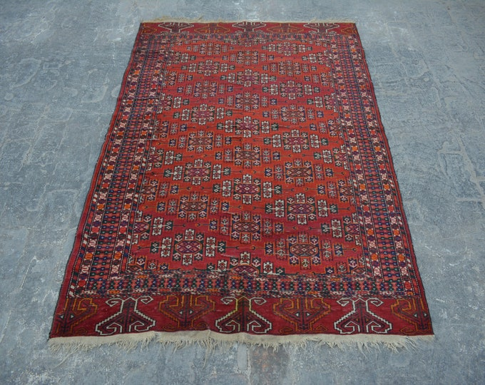 Semi Antique turkoman yamood tekke tribal handmade wool rug / Decorative rug vintage Turkoman tekka traditional rug
