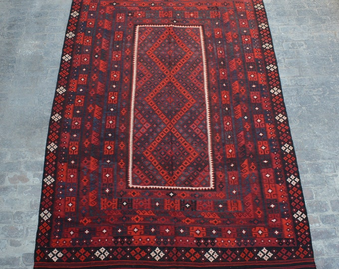 Large Stunning handwoven tribal Afghan hazara Chobi kilim / Traditional kuchi kilim decorative Turkish kilim/ Bohemian Afghan kilim