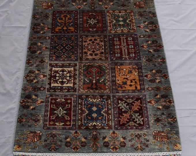 Tribal Ayna Rug - Multicolor Afghan Hand Knotted wool Rug - Bathroom rug - Entryway rug - 87x123 carpet - Bedroom rug - Kitchen rug