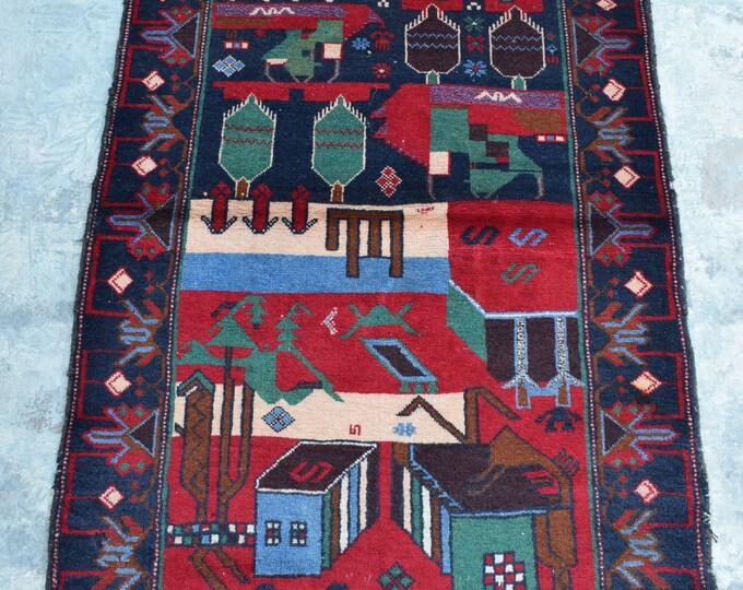 Free Shipping /Afghan hand knotted tribal Rug/ 2'10 x 4'8 ft.