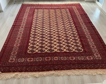 257x334 Large handmade Turkmen tekke wool rug living room rug, bedroom rug