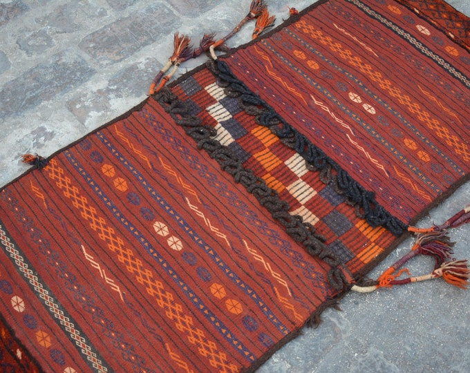 Turkoman Natural Dye Soft Woolen Afghan tribal floor Balisht Cushion Case Big Pillew Decor Piece/ Saddle bag