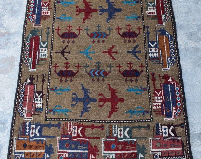 Free Shipping/ Hand knotted tribal War Rug/ 3'2 x 4'10 ft.