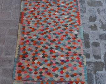 PINK MOON - Flatwoven Afghan kilim Rug, Handmade Modern kilim
