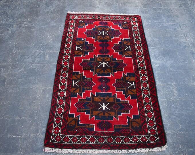 2'10 x 4'11 Afghan rug - hand knotted wool rug - kitchen rug - area rug - tribal rug - turkish small rug - free shipping