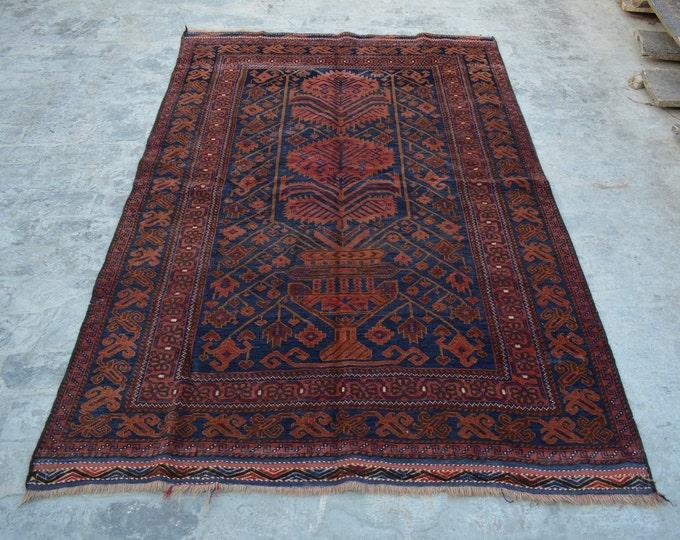 Elegant Handmade Afghan vintage Woolen area rug / 100% wool tribal hand knotted rug / Afghan baluchi rug Guldan Naqsha rug