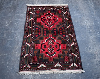 2'10 x 4'4 red Afghan rug - hand knotted wool rug - kitchen rug - area rug - tribal rug - turkish small rug - free shipping