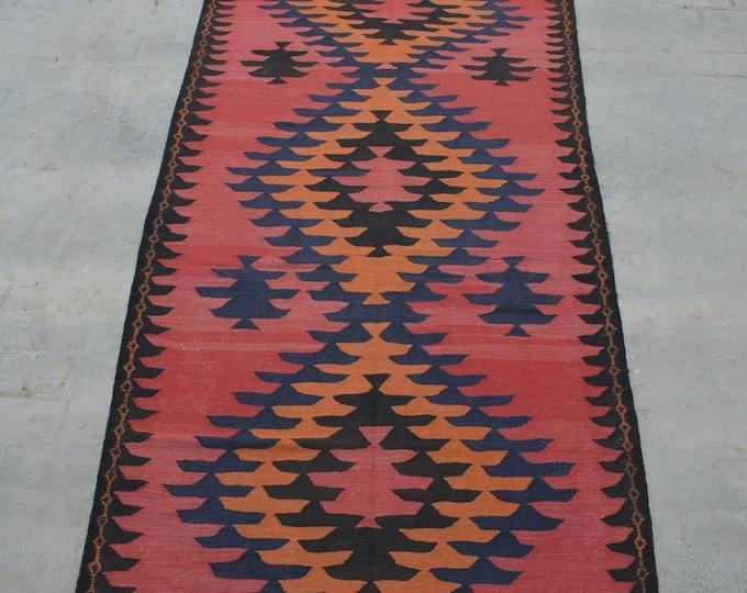 Vintage handwoven Caucasian kilim rug runner / Decorative kilim rug runner