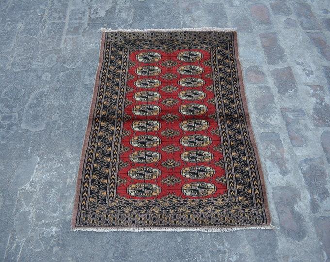 Vintage Afghan turkoman tribal Bokhara handmade wool rug / Decorative rug vintage afghan traditional rug
