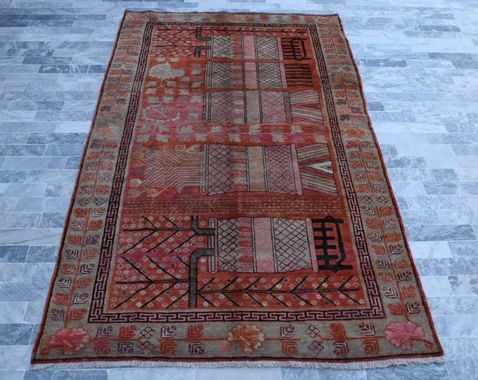 """Antique Samarkand 5'0"""" x 9'8"""" Hand-Knotted Khotan Rug Floral Vases 1940's - FREE SHIPPING"""