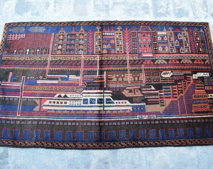 3'0 x 5'4 ft. Vintage handmade Afghan baluch tribal rug