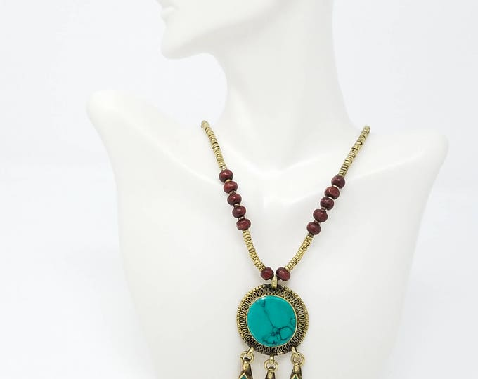 Afghan tribal kuchi pendant , gypsy pendant , necklace