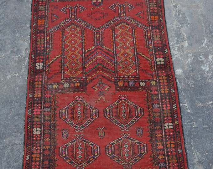 Antique Afghan Nomadic tribal handmade wool prayer rug / Decorative rug vintage afghan traditional kawdani prayer rug