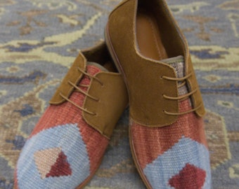 Handmade Men's kilim Loafers / wool kilim Shoes