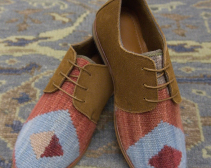 Handmade Men's kilim Loafers / wool kilim Shoes