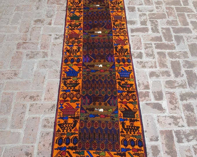 80x294 Afghan hand knotted war rug runner - decorative rug runner - wool rug runner - afghan baluch runner rug - free shipping