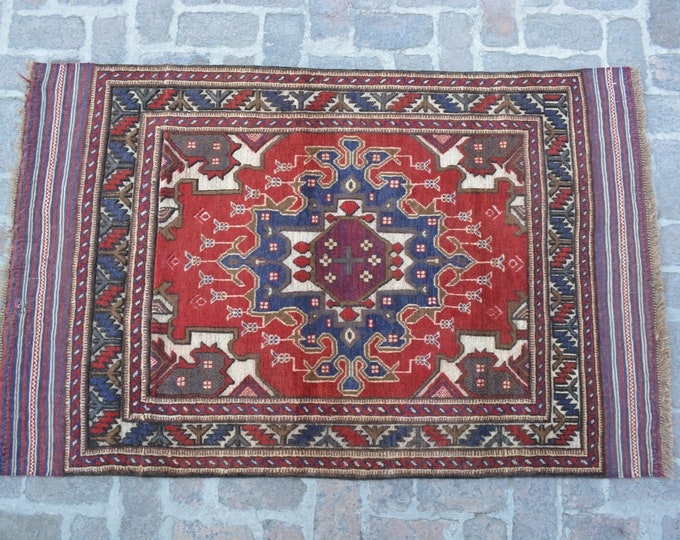 Vintage Afghan Tribal Berjesta Kilim Rug / Free Shipping/ 118 x 187 cm
