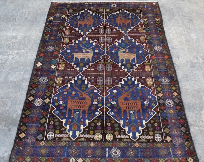 3'11 x 6'2 - Vintage Terracotta Animal Area Rug for living room Afghan rug boho rug wool rug handmade rug