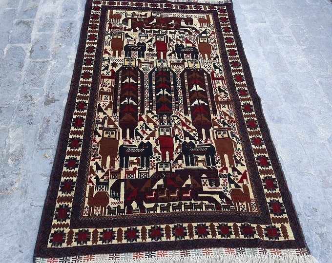 3.9 x 6.4 ft. Fine Hand knotted Afghan Pictorial Rug