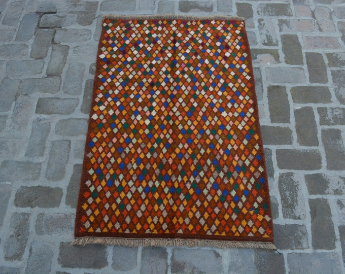 95 x 143 cm. Soft wool hand made modern rug/ Free Shipping